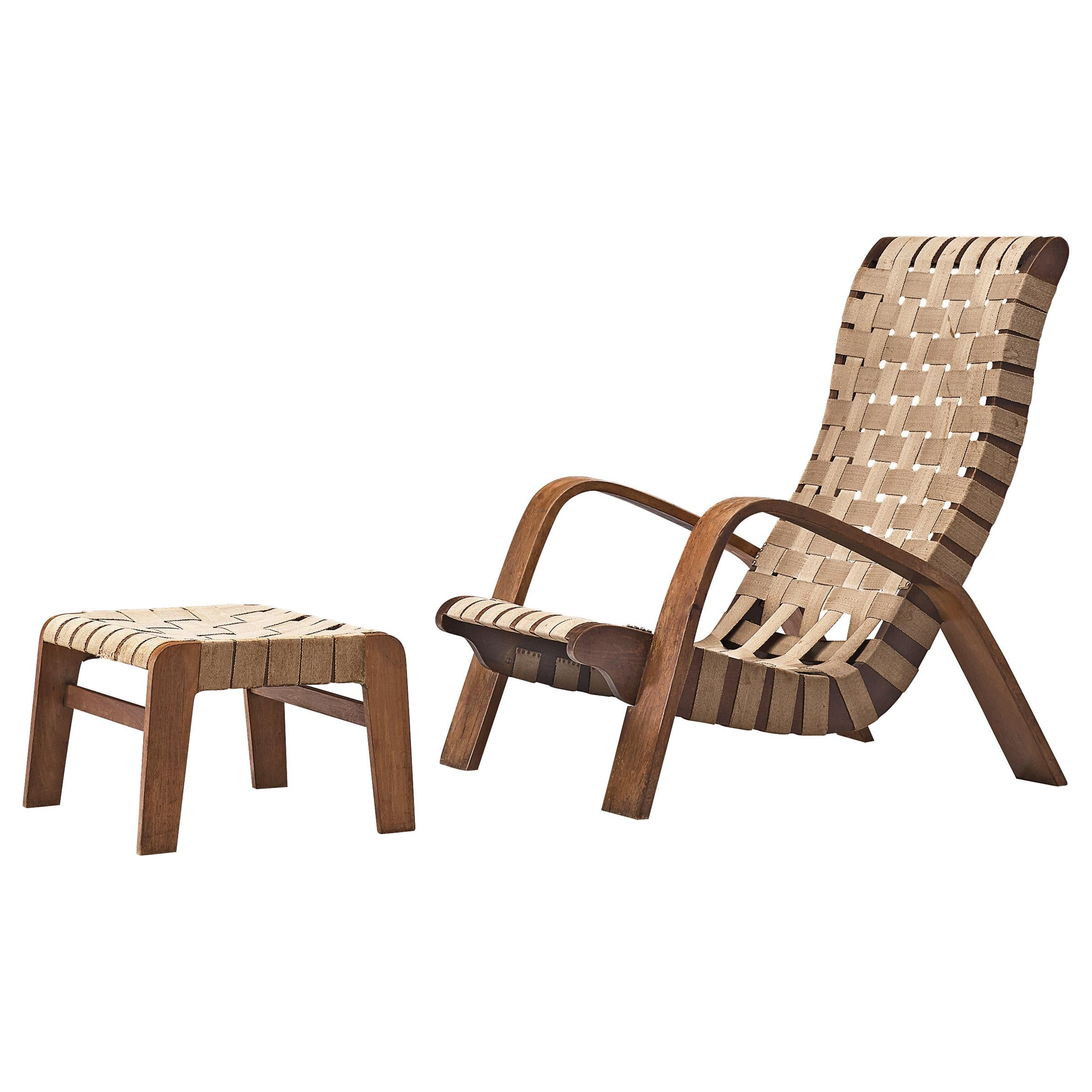 Sculptural Lounge Chair with Ottoman