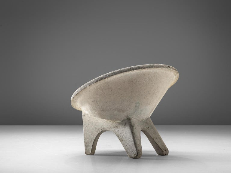 European Sculptural Lounge Chairs in Concrete For Sale