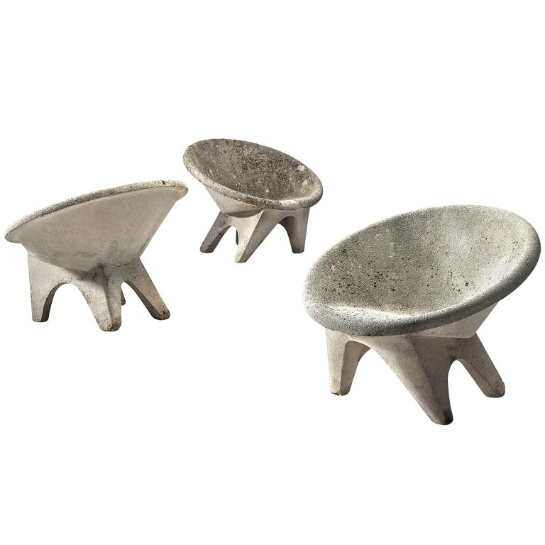 Sculptural Lounge Chairs in Concrete For Sale