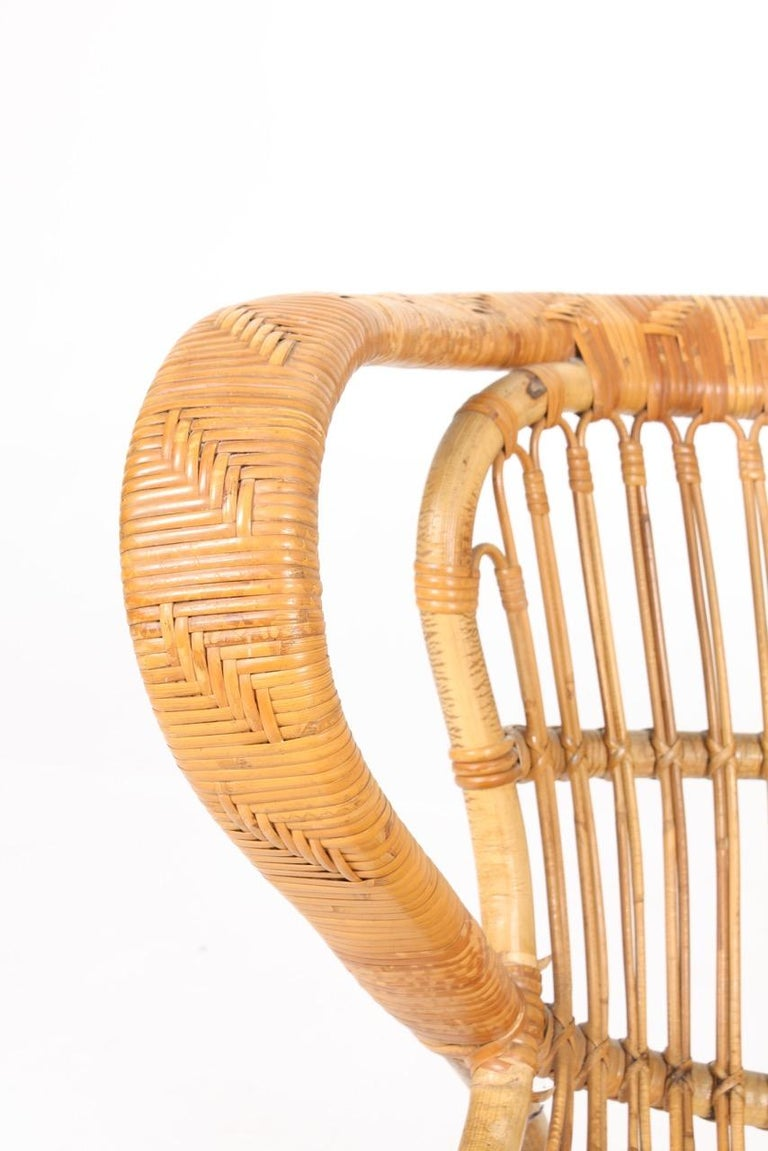 Scandinavian Modern Sculptural Lounge Midcentury Lounge Chair in Bamboo, Made in Denmark, 1950 For Sale