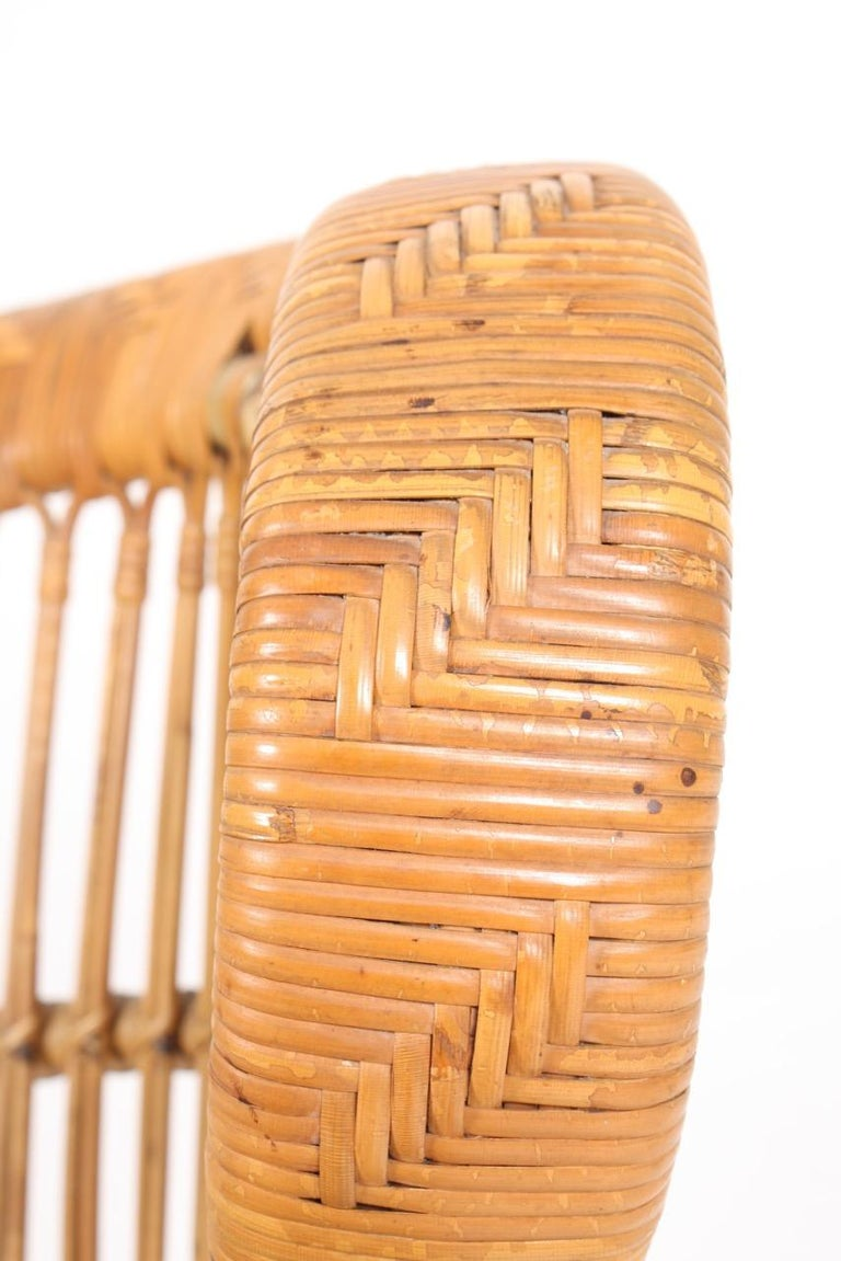 Danish Sculptural Lounge Midcentury Lounge Chair in Bamboo, Made in Denmark, 1950 For Sale