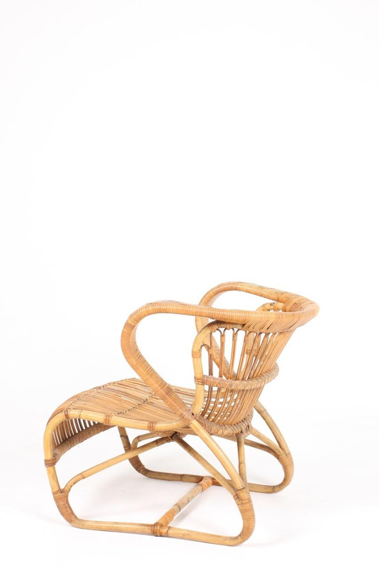 Sculptural Lounge Midcentury Lounge Chair in Bamboo, Made in Denmark, 1950 In Good Condition For Sale In Lejre, DK