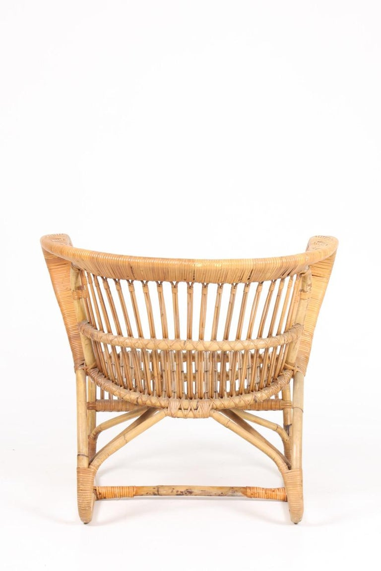 Mid-20th Century Sculptural Lounge Midcentury Lounge Chair in Bamboo, Made in Denmark, 1950 For Sale