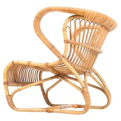 Sculptural Lounge Midcentury Lounge Chair in Bamboo, Made in Denmark, 1950