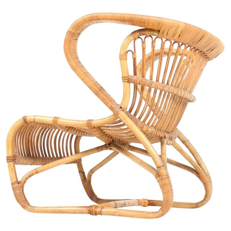 Sculptural Lounge Midcentury Lounge Chair in Bamboo, Made in Denmark, 1950 For Sale