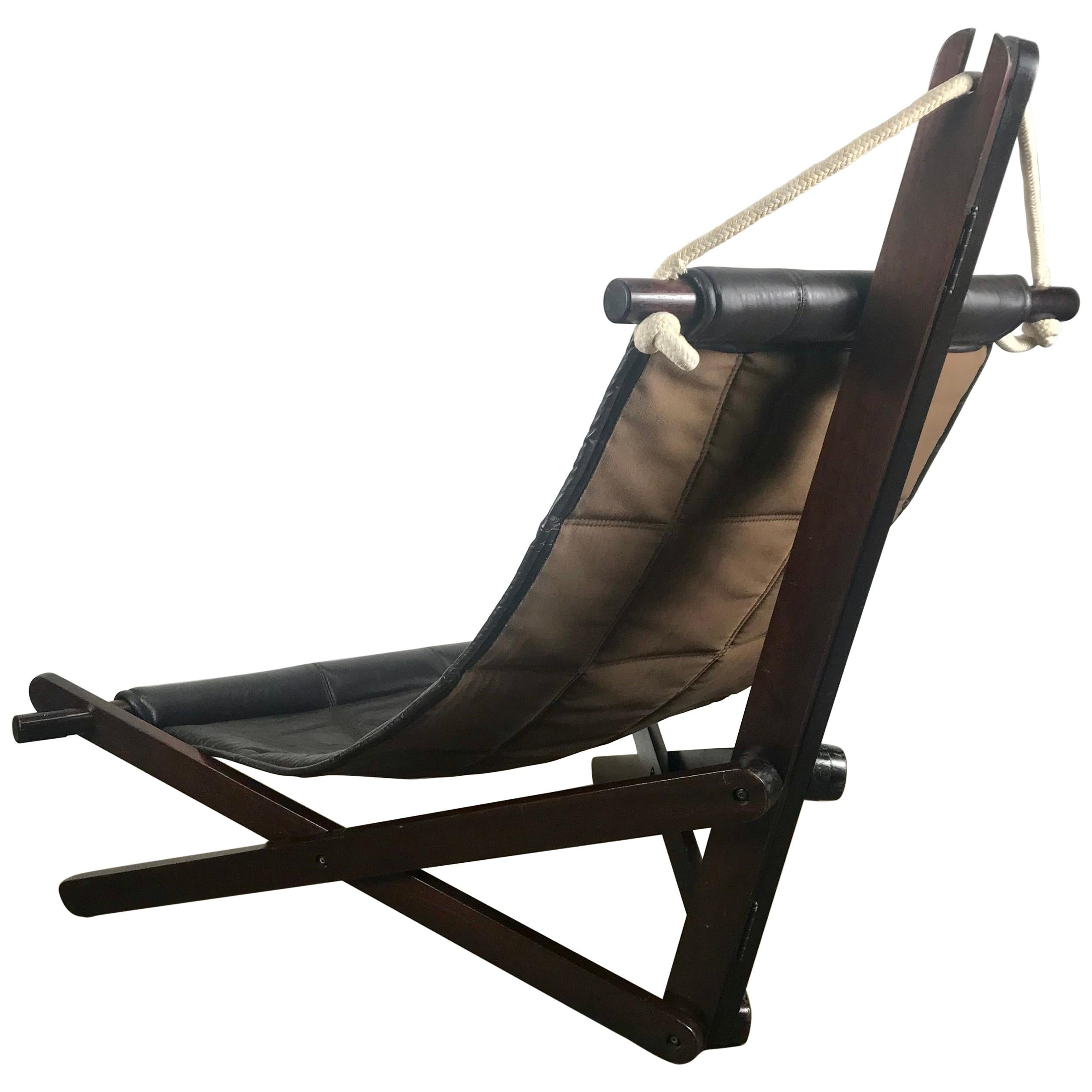 """Sculptural Lounge Sling, Dominic Michaelis """"Sail Chair"""" for Moveis Corazza"""