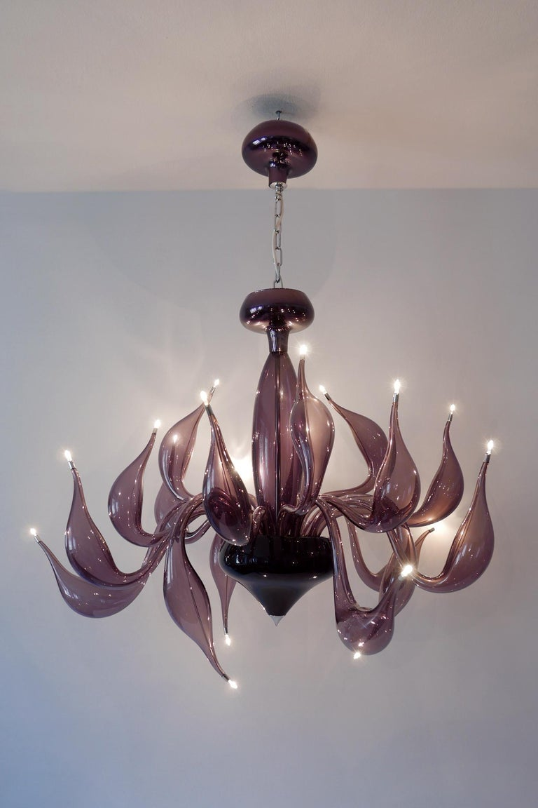 2010s Sculptural Lu Murano Chandelier 18 Lights by Fabio Fornasier, 2004, Italy For Sale