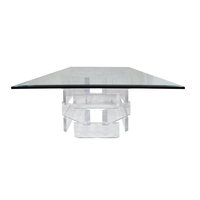 Sculptural Lucite Coffee Table with Beveled Glass Top, 1970s In Excellent Condition For Sale In New York, NY