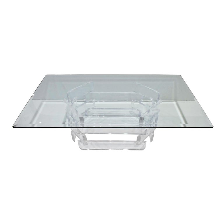 Sculptural Lucite Coffee Table with Beveled Glass Top, 1970s For Sale 1