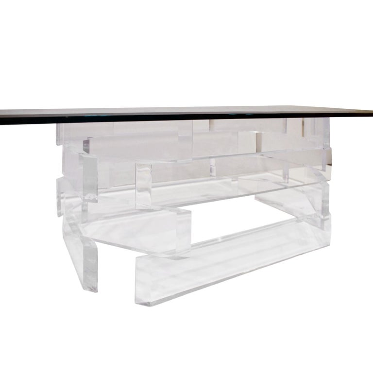 Sculptural Lucite Coffee Table with Beveled Glass Top, 1970s For Sale 2