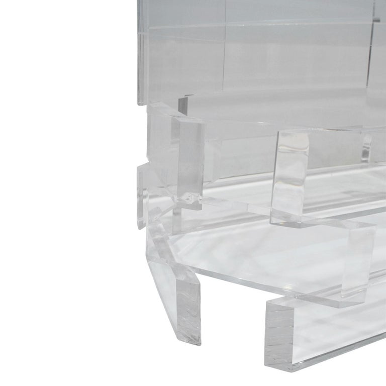Sculptural Lucite Coffee Table with Beveled Glass Top, 1970s For Sale 3