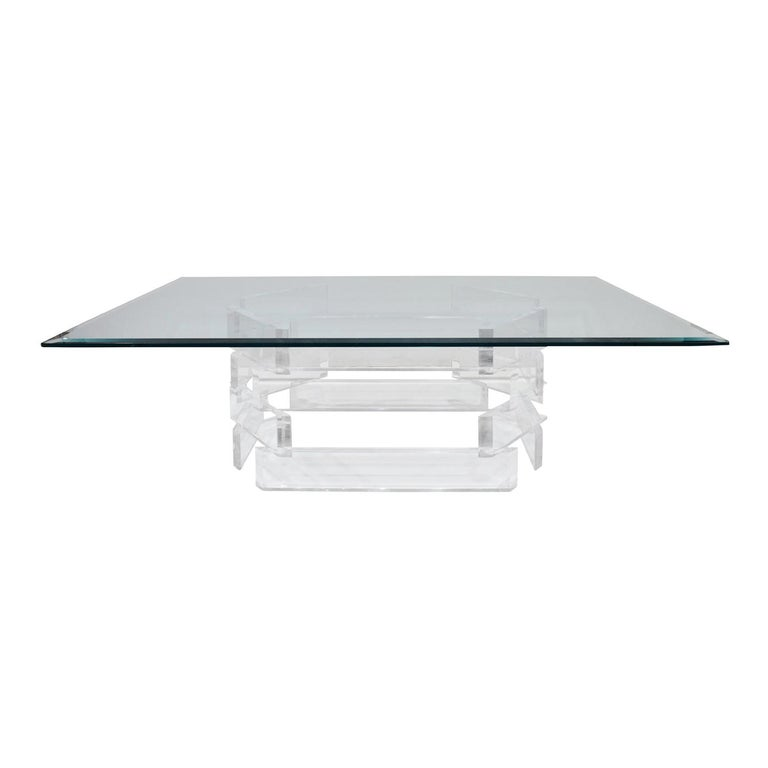 Sculptural Lucite Coffee Table with Beveled Glass Top, 1970s For Sale