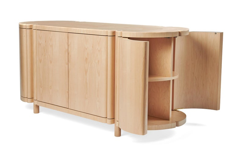 Modern Sculptural Maple Credenza, Sideboard, or Console by Black Table Studio For Sale
