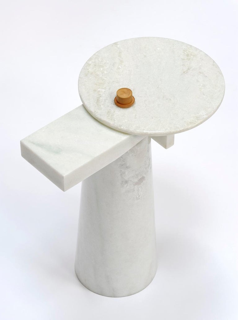 Sculptural gueridon, Leopol, signed Kaaron Signed and numbered Edition of 8 + 4 AP Swivel marble tray Panama marble Boxwood from france Dimensions: (H) 44cm x (diam) 28cm x (L) 38cm.  Kaaron Important emerging French artists.