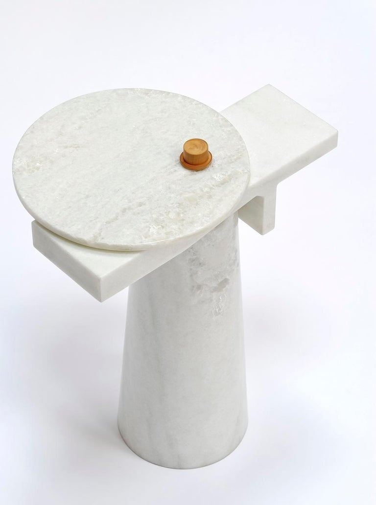 French Sculptural Marble Gueridon, Leopol, Signed by Kaaron For Sale