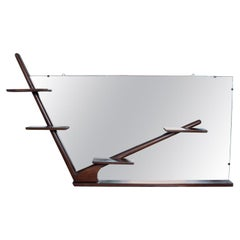 Sculptural Mexican Modernist Angular Mirror Wall Shelf in Mahogany