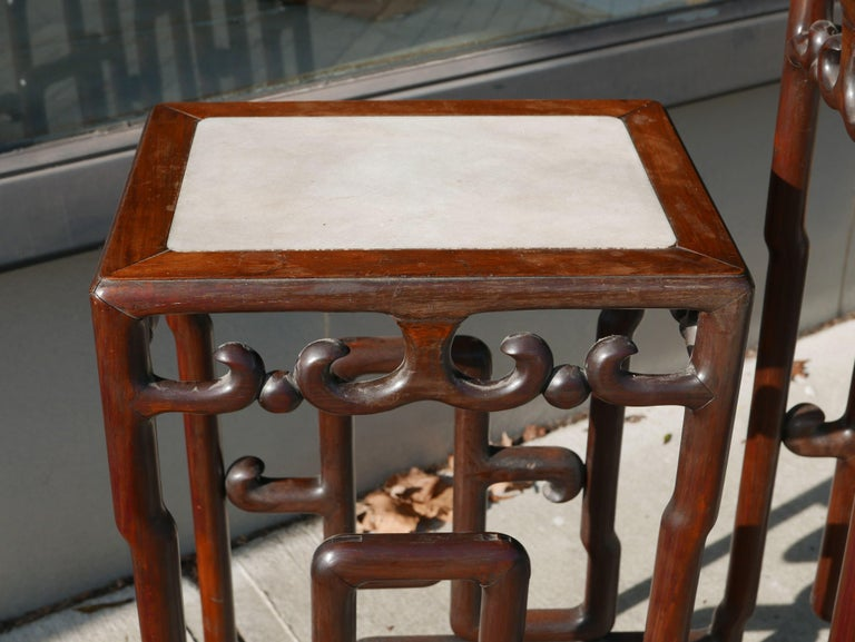 Marble Sculptural Mid-20th Century Chinese Rosewood Double Pedestal For Sale