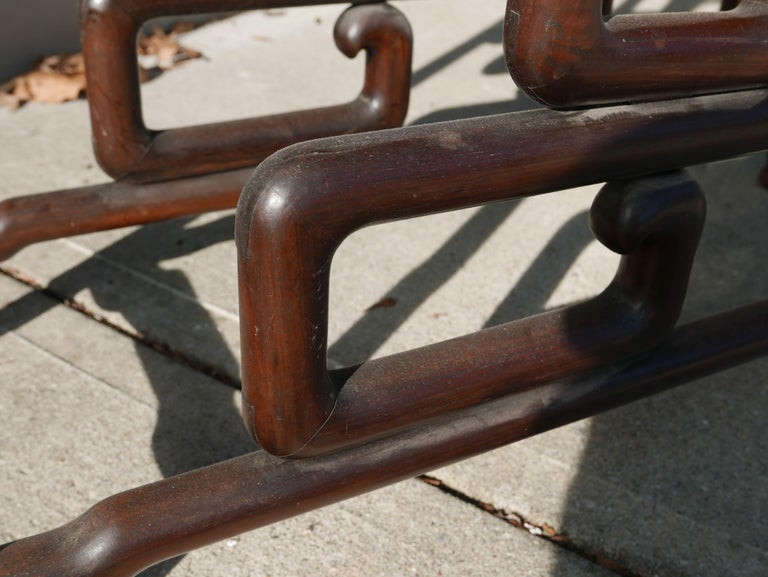 Sculptural Mid-20th Century Chinese Rosewood Double Pedestal For Sale 4