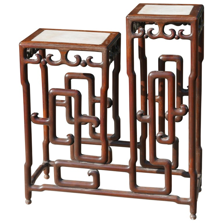 Sculptural Mid-20th Century Chinese Rosewood Double Pedestal For Sale
