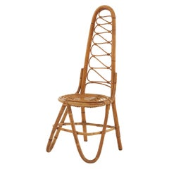 Sculptural Mid-20th Century French Rattan Dining Chair