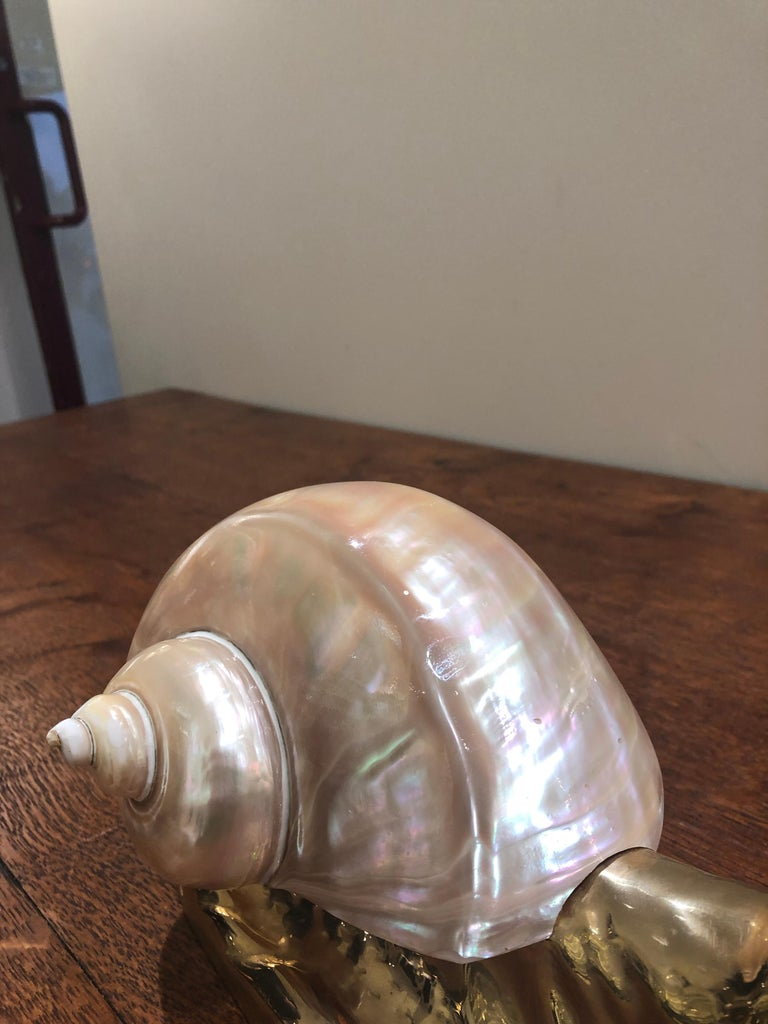 Mid Century Italian Brass and Shell Nautical Snail Art Sculpture  In Excellent Condition For Sale In Wimbledon, GB