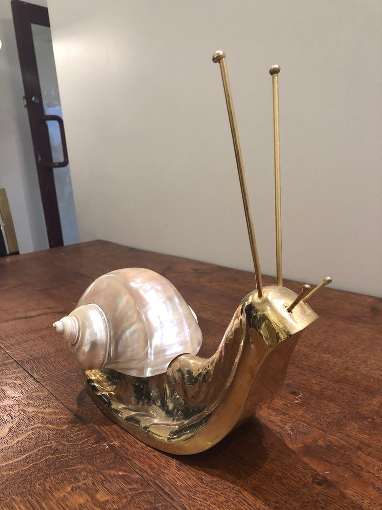 20th Century Mid Century Italian Brass and Shell Nautical Snail Art Sculpture  For Sale