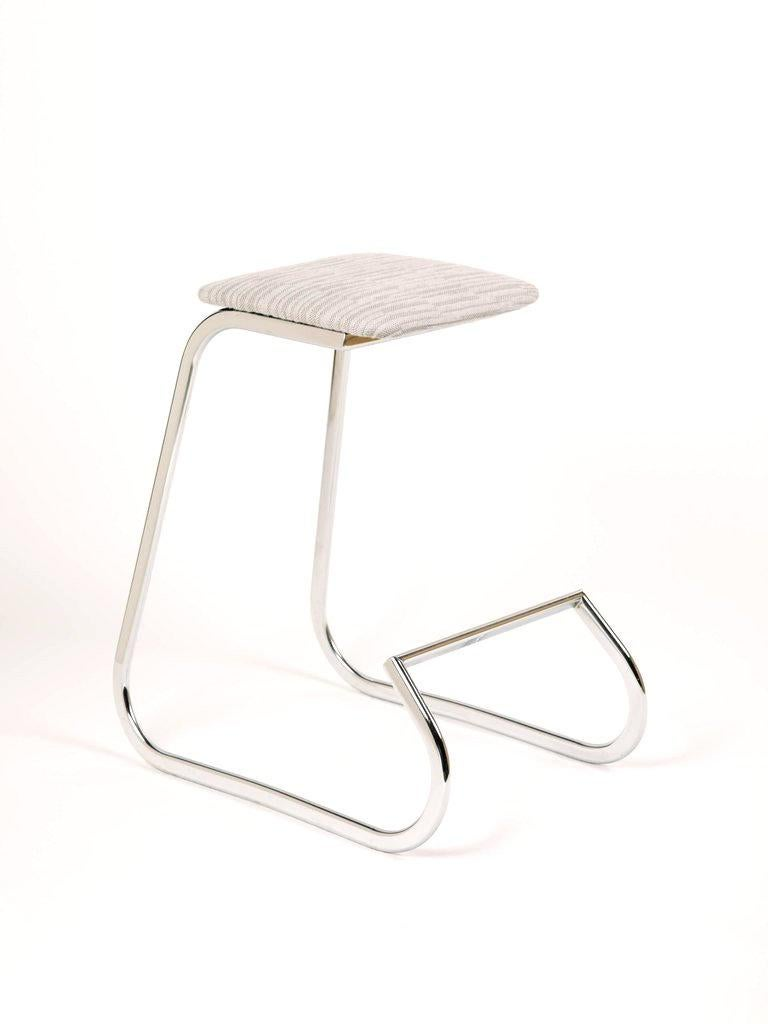 American Sculptural Mid-Century Modern Counter Stools in Embossed Wool by Charles Stendig For Sale