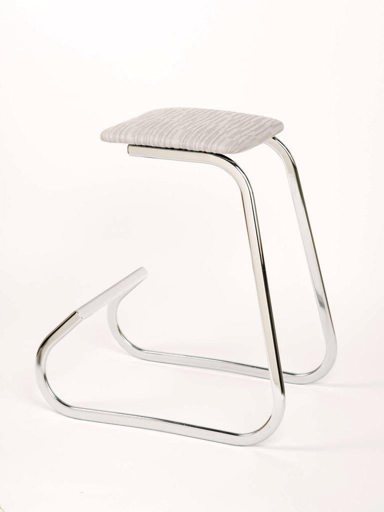 Sculptural Mid-Century Modern Counter Stools in Embossed Wool by Charles Stendig In Good Condition For Sale In Stamford, CT