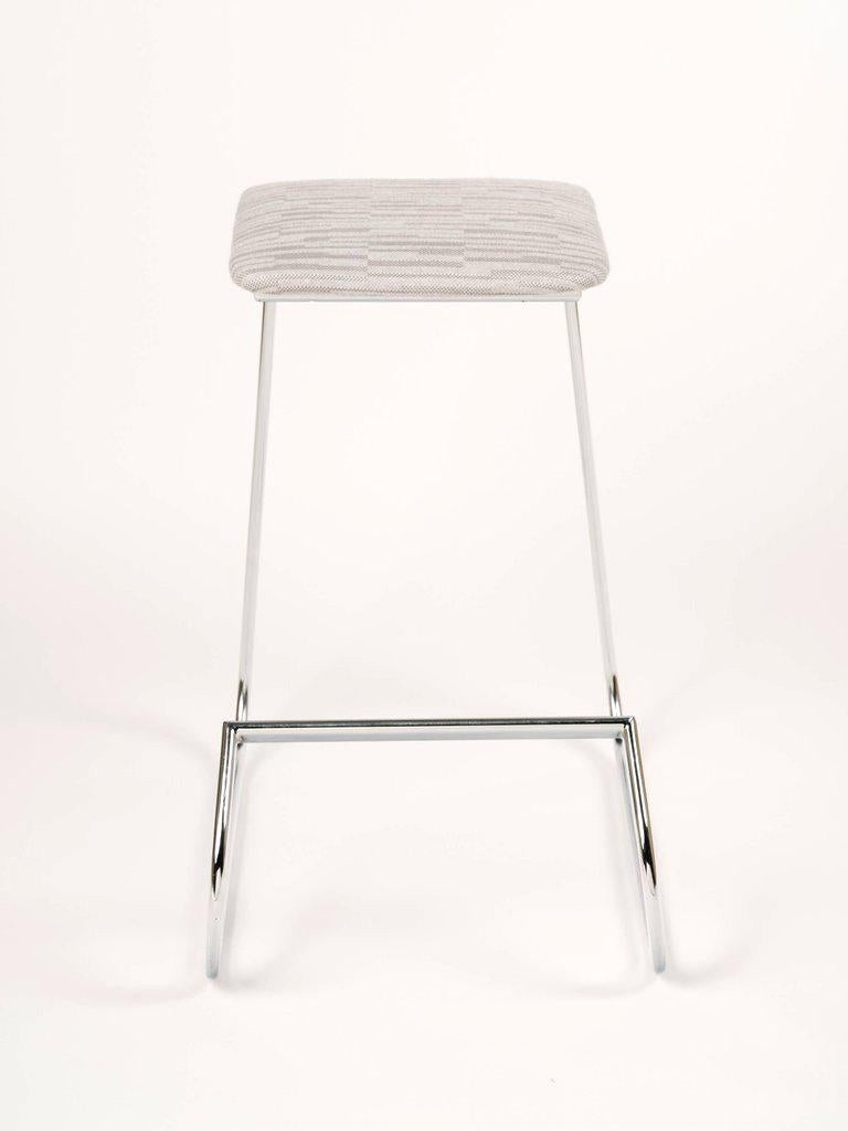 Chrome Sculptural Mid-Century Modern Counter Stools in Embossed Wool by Charles Stendig For Sale