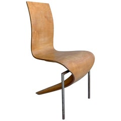 Sculptural Mid-Century Modern French Side Chair, in Style of André Bloc