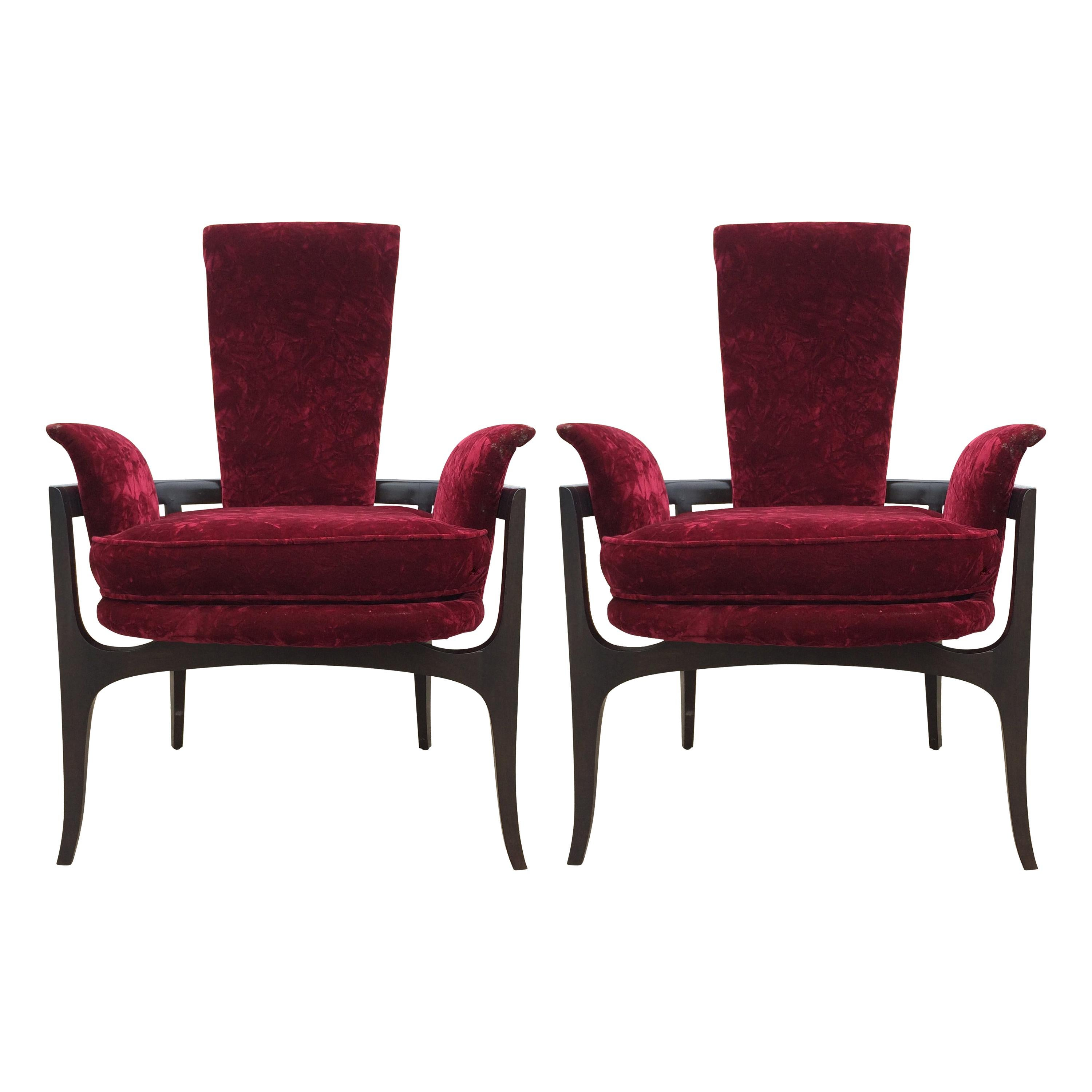 Sculptural Mid-Century Modern Lounge Chairs