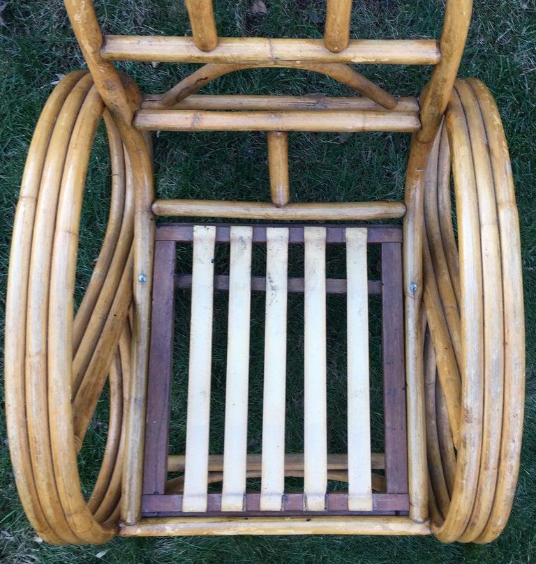 Sculptural Mid-Century Modern Rattan Pretzel Club Lounge Chair Paul Frankl Style For Sale 5