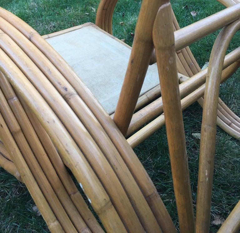 Sculptural Mid-Century Modern Rattan Pretzel Club Lounge Chair Paul Frankl Style For Sale 7