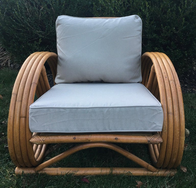 Mid-20th Century Sculptural Mid-Century Modern Rattan Pretzel Club Lounge Chair Paul Frankl Style For Sale