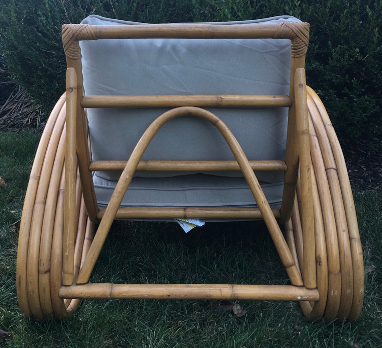 Upholstery Sculptural Mid-Century Modern Rattan Pretzel Club Lounge Chair Paul Frankl Style For Sale