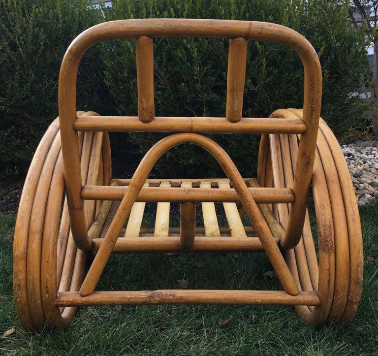 Sculptural Mid-Century Modern Rattan Pretzel Club Lounge Chair Paul Frankl Style For Sale 1