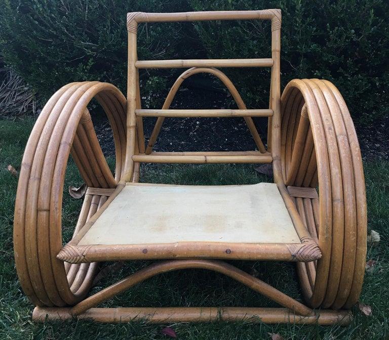 Sculptural Mid-Century Modern Rattan Pretzel Club Lounge Chair Paul Frankl Style For Sale 2