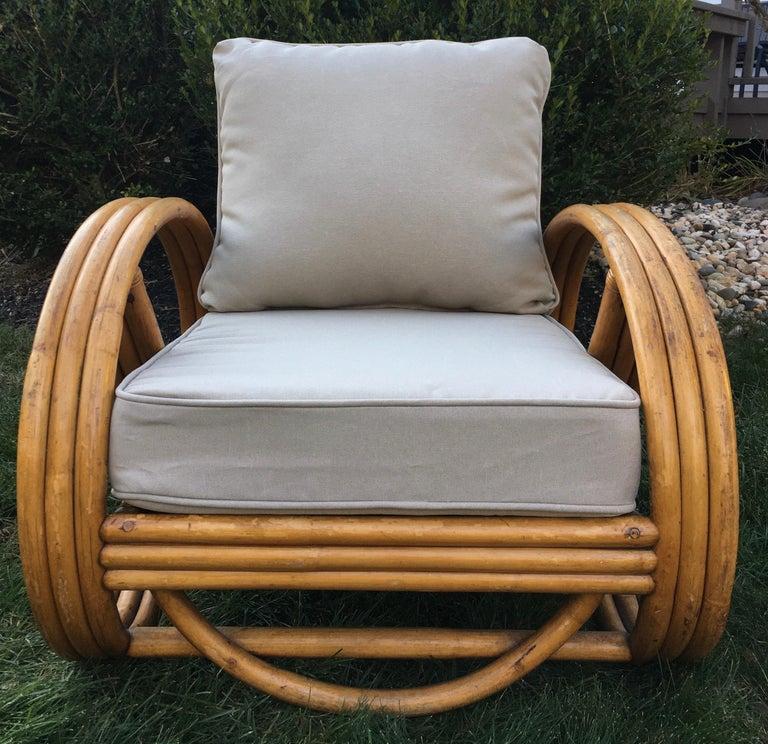 Sculptural Mid-Century Modern Rattan Pretzel Club Lounge Chair Paul Frankl Style For Sale 3