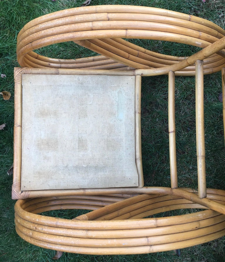 Sculptural Mid-Century Modern Rattan Pretzel Club Lounge Chair Paul Frankl Style For Sale 4