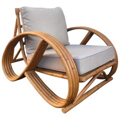 Sculptural Mid-Century Modern Rattan Pretzel Club Lounge Chair Paul Frankl Style
