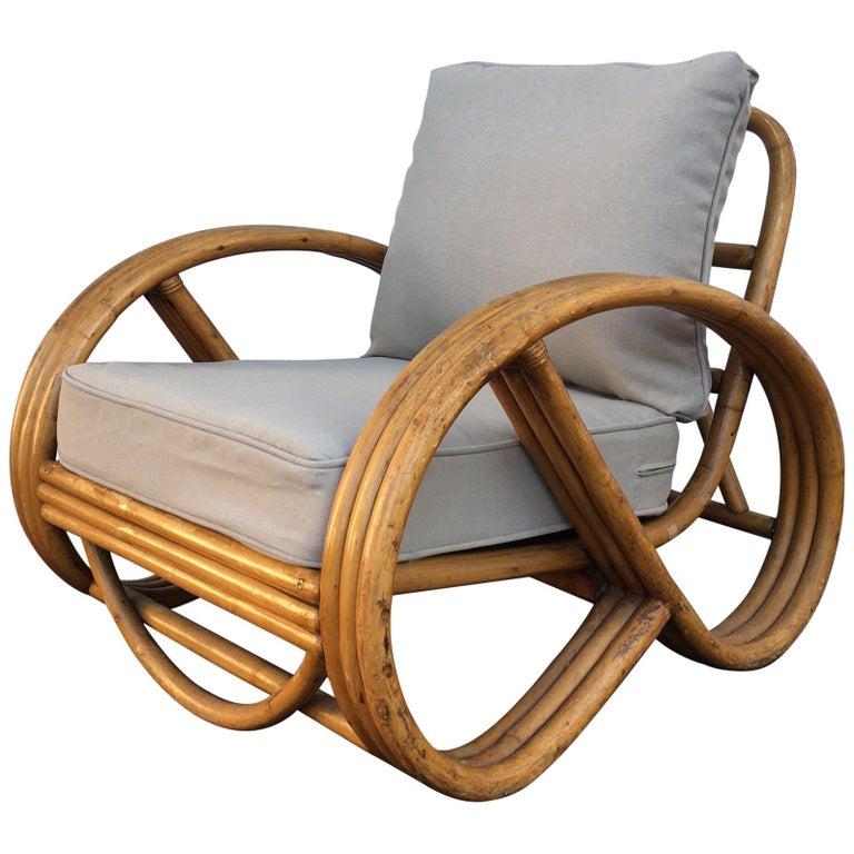 Sculptural Mid-Century Modern Rattan Pretzel Club Lounge Chair Paul Frankl Style For Sale