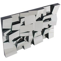 Sculptural Mid-Century Modern Slopes Wall Mirror Designed by Neal Small