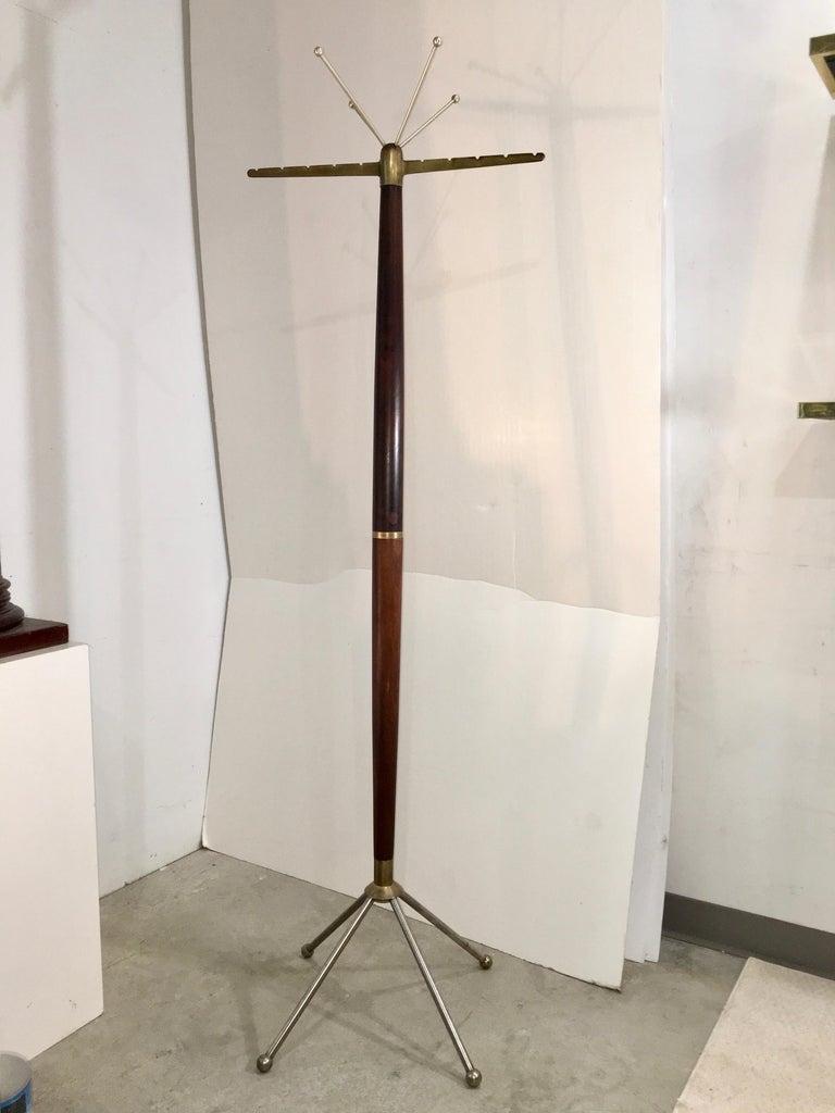 Italian Sculptural Mid-Century Modern Walnut & Brass Coat Stand For Sale