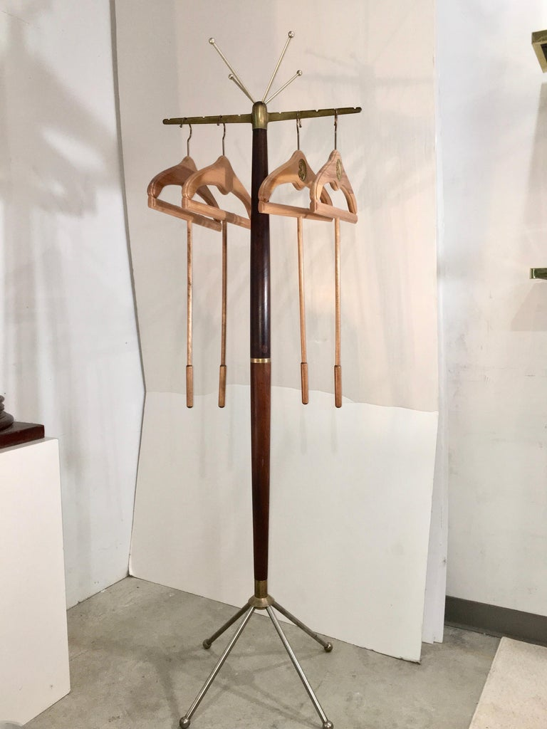 Mid-20th Century Sculptural Mid-Century Modern Walnut & Brass Coat Stand For Sale