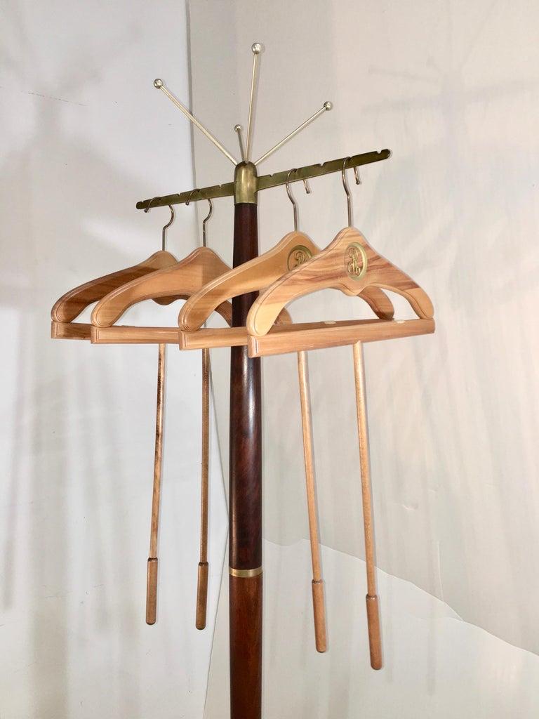 Sculptural Mid-Century Modern Walnut & Brass Coat Stand For Sale 1