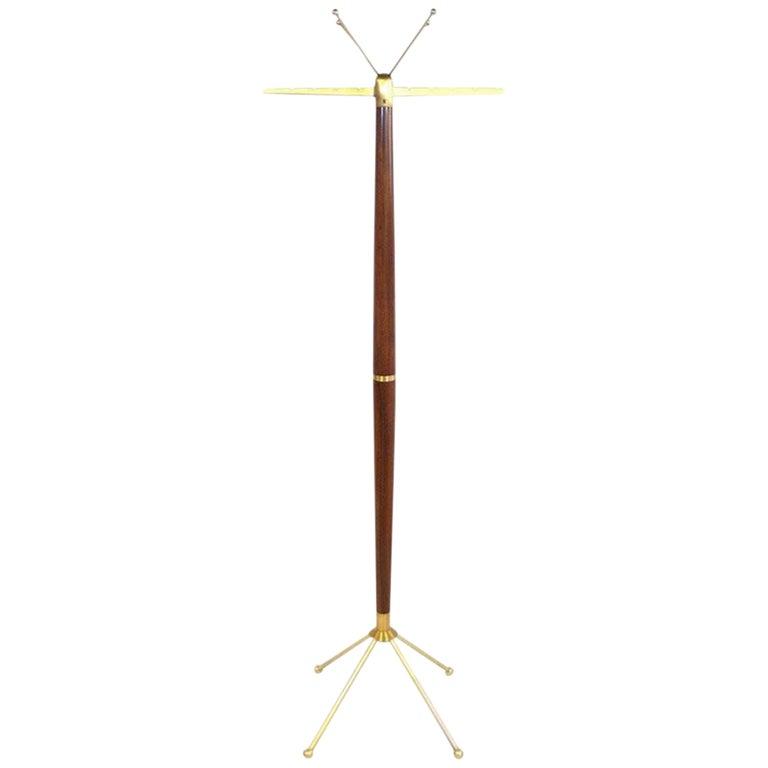 Sculptural Mid-Century Modern Walnut & Brass Coat Stand For Sale