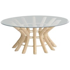 Sculptural Midcentury Rattan Cocktail Table