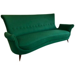 Sculptural Midcentury Italian 3-Seat Sofa, Green wool Upholstery, circa 1950s