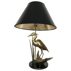 MIDCENTURY SCULPTURAL LAMP in Brass with Heron 1969 Hollywood Regency Style