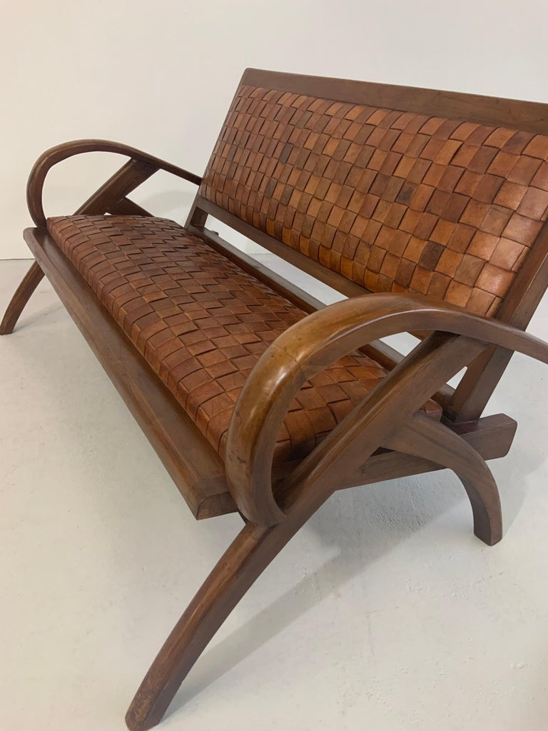 Sculptural Midcentury Scandinavian Vintage Woven Leather Bench Lounge Sofa 1960s For Sale 4